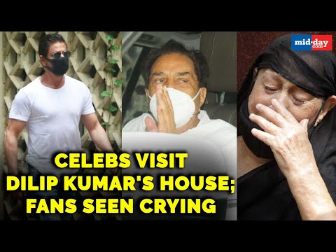 Celebs, politicians visit Dilip Kumar's house; Fans seen crying outside late actor's residence