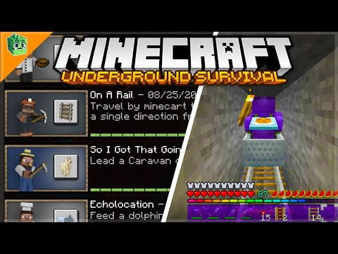 On A Rail Travelling 500 Meters In A Minecart – Minecraft Underground Survival Guide (79)